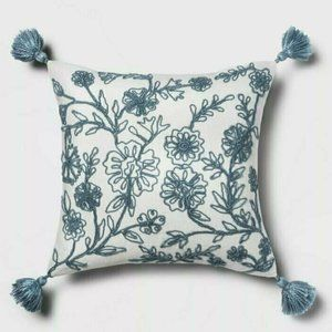 Threshold Blue Embroidered Floral Square Throw Pil